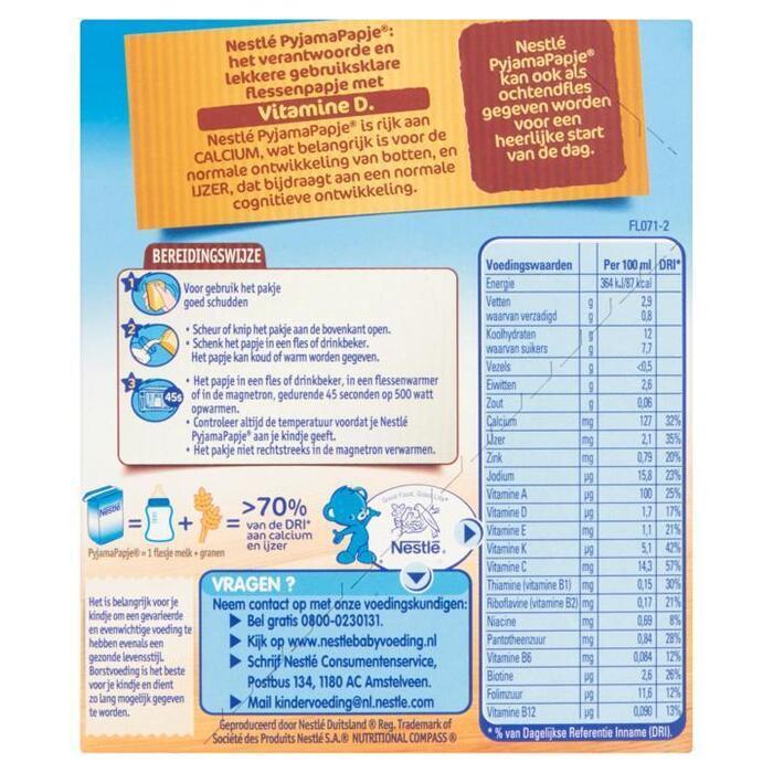 Nestlé Baby PyjamaPapje® Multifruit 2 x 250 ml (Stuk, 2 × 250ml)
