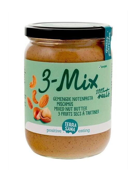 3 Mix, gemengde notenpasta zonder pinda's TerraSana 500g (500g)