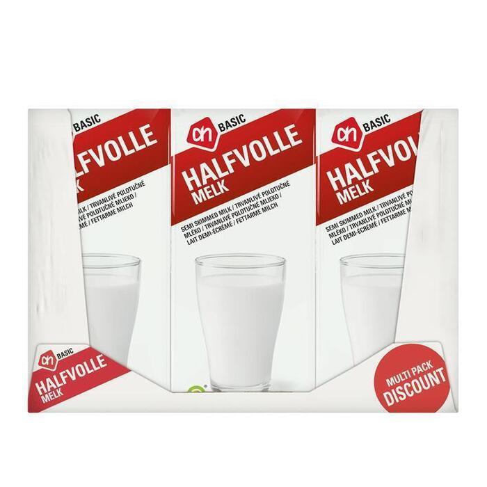 Halfvolle melk houdbaar (pak, 6 × 1L)