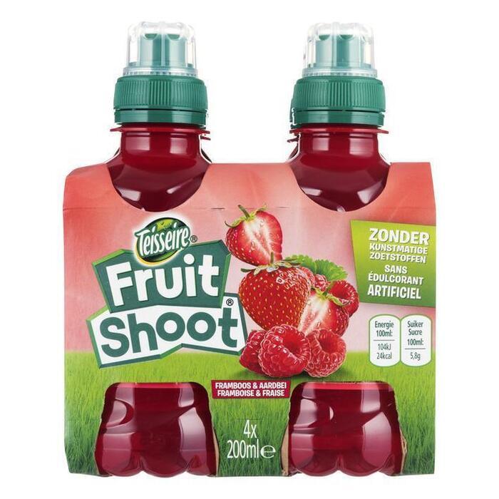 Teisseire Fruit shoot aardbei framboos fles 4 x 20 cl (4 × 200ml)