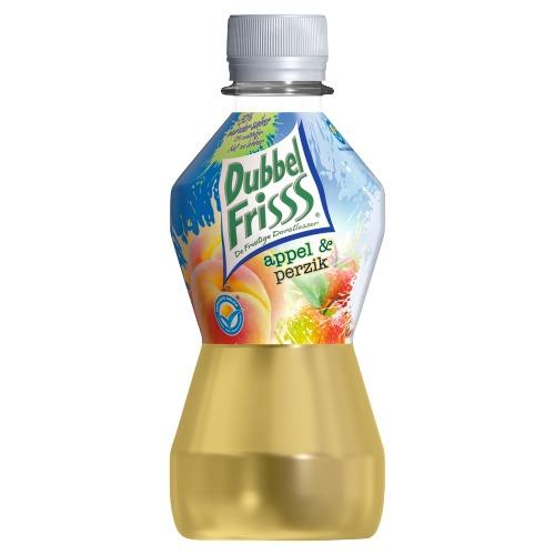 Dubbelfrisss vruchtendrank appel perzik 275 ml fles (275ml)