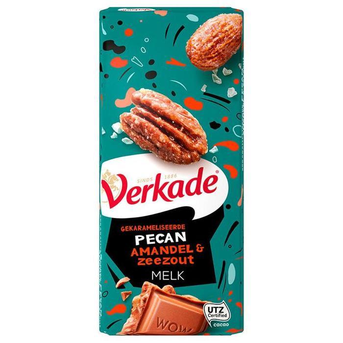 Verkade Pecan, amandel & zeezout melk chocoladereep (Stuk, 111g)