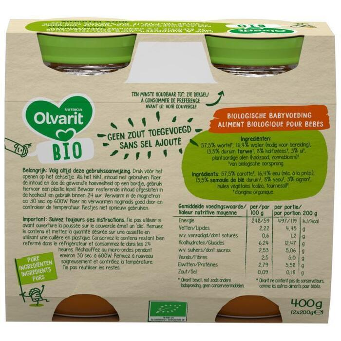 Olvarit Wortel, tarwe & kalfsvlees 8+ Maanden (200g)