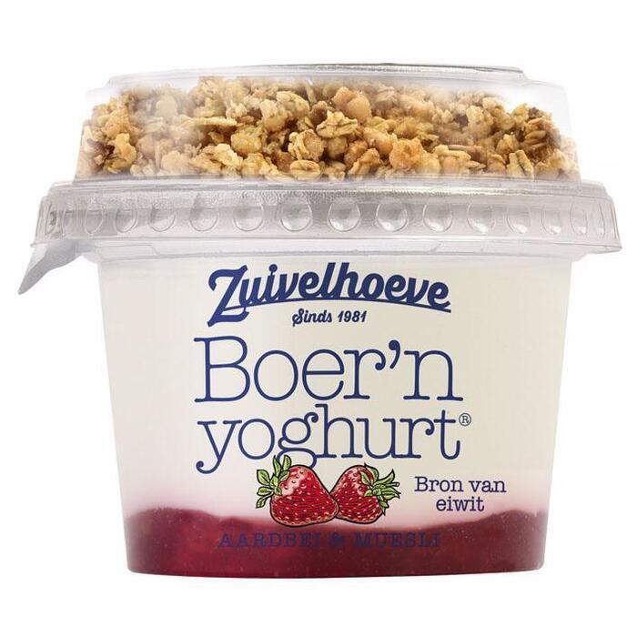 Boer'n yoghurt Muesli Aardbei (Stuk, 170g)