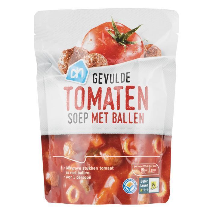 Gevulde tomatensoep met ballen
