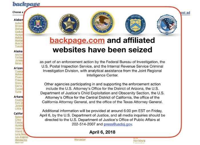 La notice de saisie du FBI sur le site Backpage