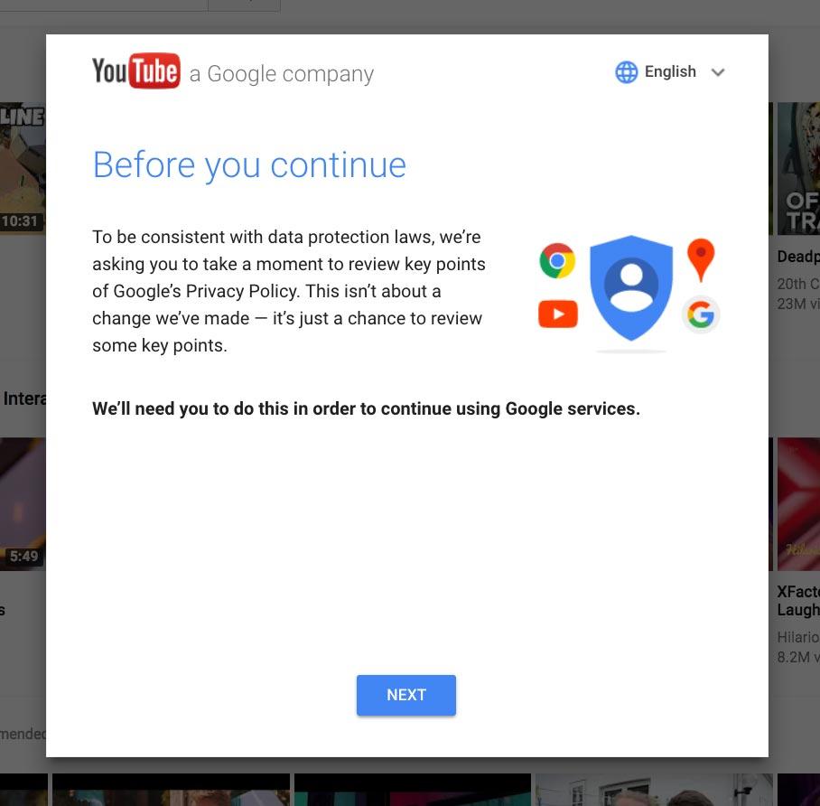 Google vous demande un consentement explicite avant même que vous n'accédiez à son service