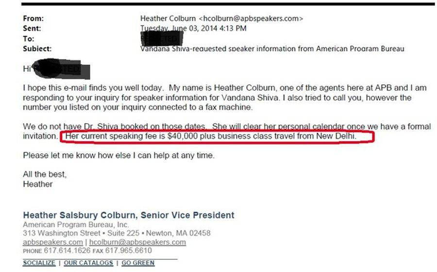 Un mail d'un organisateur, qui travaille pour Vandana Shiva, en demandant 40 000 dollars pour une conférence
