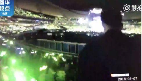 Le stade de la ville Nanchang pendant le concert