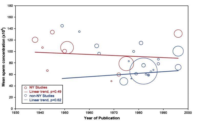 La réanalyse des données de Carlsen et al ne montre aucune baisse du nombre de spermatozoïdes (ligne de régression bleue) lorsque les données de New York sont exclus. La taille de la bulle correspond au nombre d'hommes dans l'étude. (De Saidi J, Chang D, Goluboff E)