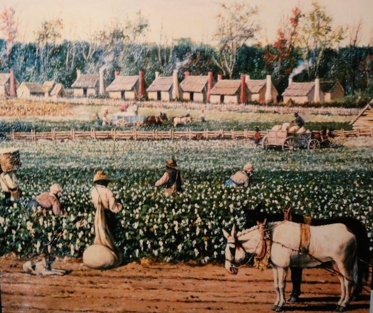 Le coton américain bon marché a été expédié en Grande-Bretagne via New York et importé aux États-Unis en guise de vêtement, enrichissant tout le monde, sauf les travailleurs asservis qui l 'ont récolté - Crédit : Fort Sumter Museum Charleston via Flickr/denisbin, CC BY-ND