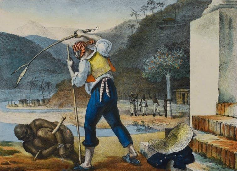 """Les Américains du XIXe siècle consommaient du café et du sucre produits par des travailleurs asservis au Brésil - Crédit : J.B. Derbet, """"Surveillants punissant les esclaves dans un domaine rural"""", CC BY"""