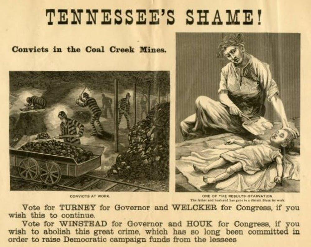 Une campagne de 1892 au Tennessee condamnant le travail pénitentiaire - Crédit : Calvin M. McClung Collection Numérique via Wikimedia Commons, CC BY