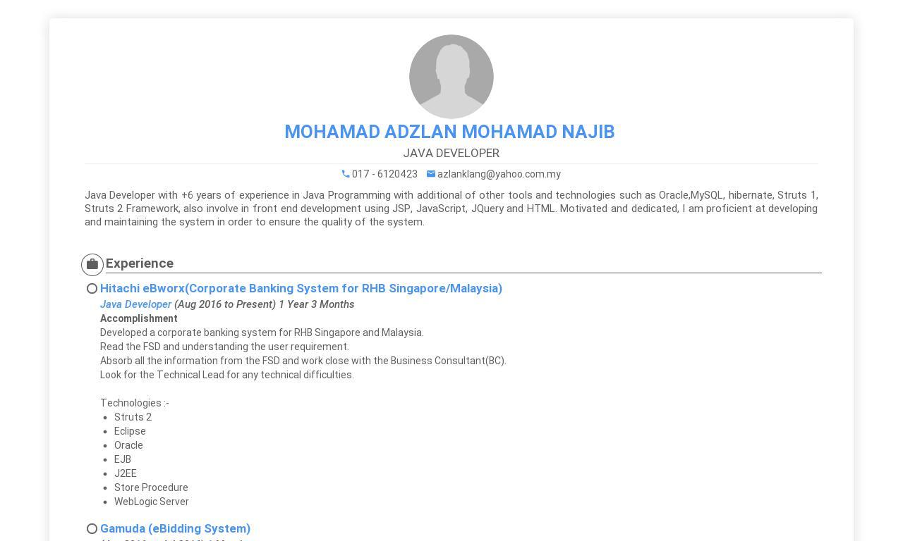 MOHAMAD ADZLAN MOHAMAD NAJIB CV
