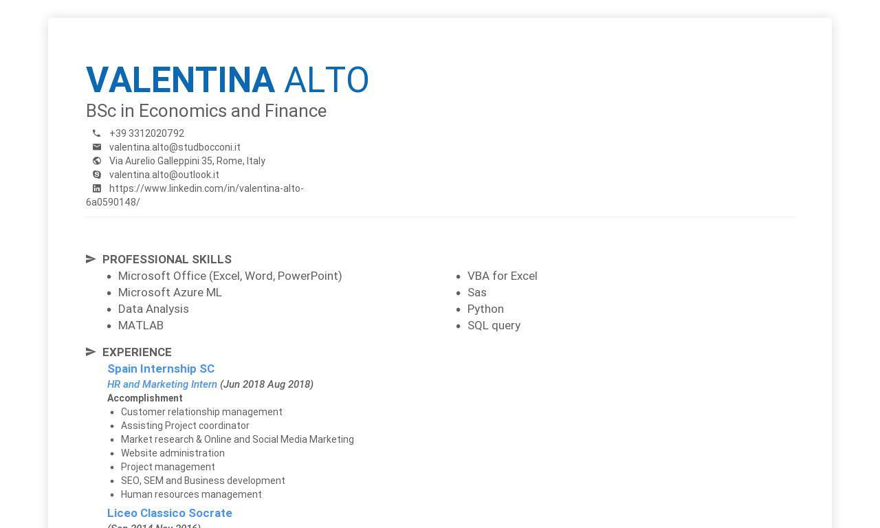 Valentina Alto CV