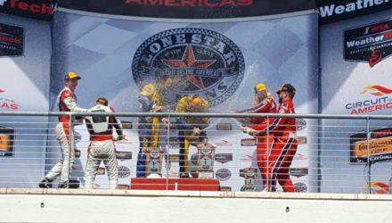 Christina Nielsen og hendes italienske makker Alessandro Balzan sluttede på tredjepladsen i GTD klassen ved lørdagens afdeling af det amerikanske IMSA mesterskab
