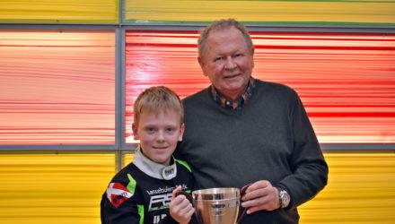 Den kun 13-årige gokart kører Malthe Jakobsen fra Sennels kunne i sidste weekend modtage Christian Bakkerud talentpris