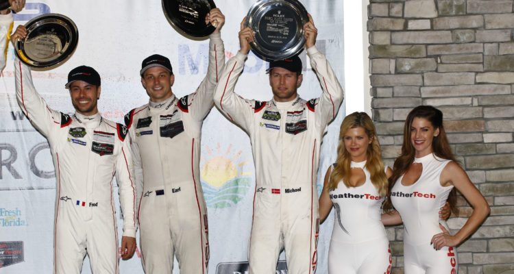 Porsche North America: Frederic Makowiecki, Earl Bamber, Michael Christensen (l-r) Foto: Porsche