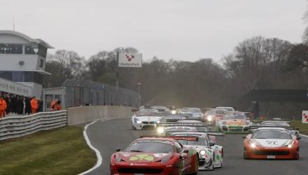 2013-04-01 Start of Race 2 Hector Lester / Allan Simonsen Rosso Verde Ferrari 458 Italia GT3 leads