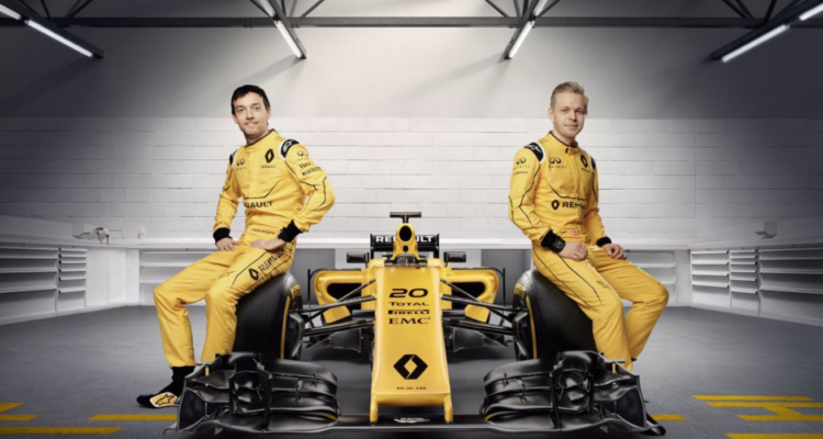 Kevin Magnussens Formel 1-racer 2016 fra Renault. Formel 1 rejser.