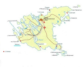 Карта Валаама с отмеченными стоянками
