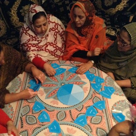 Women in Western Sahara discussing various dilemmas when building a democracy.