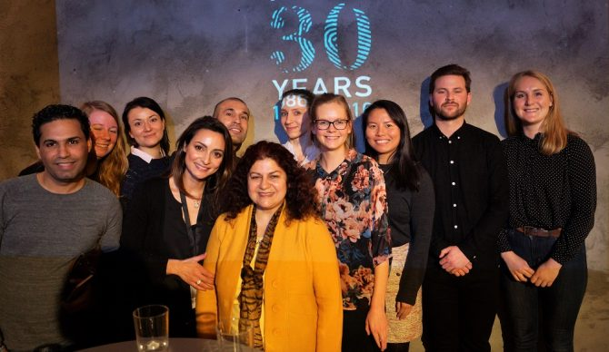 The Oslo volunteer group toghether with 2016 Rafto laureate, Yanar Mohammed.
