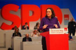De nieuwe SPD-voorzitter Andrea Nahles. SPD Sleeswijk-Holstein.