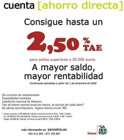 Cuenta Ahorro Directa al 2,50 % TAE