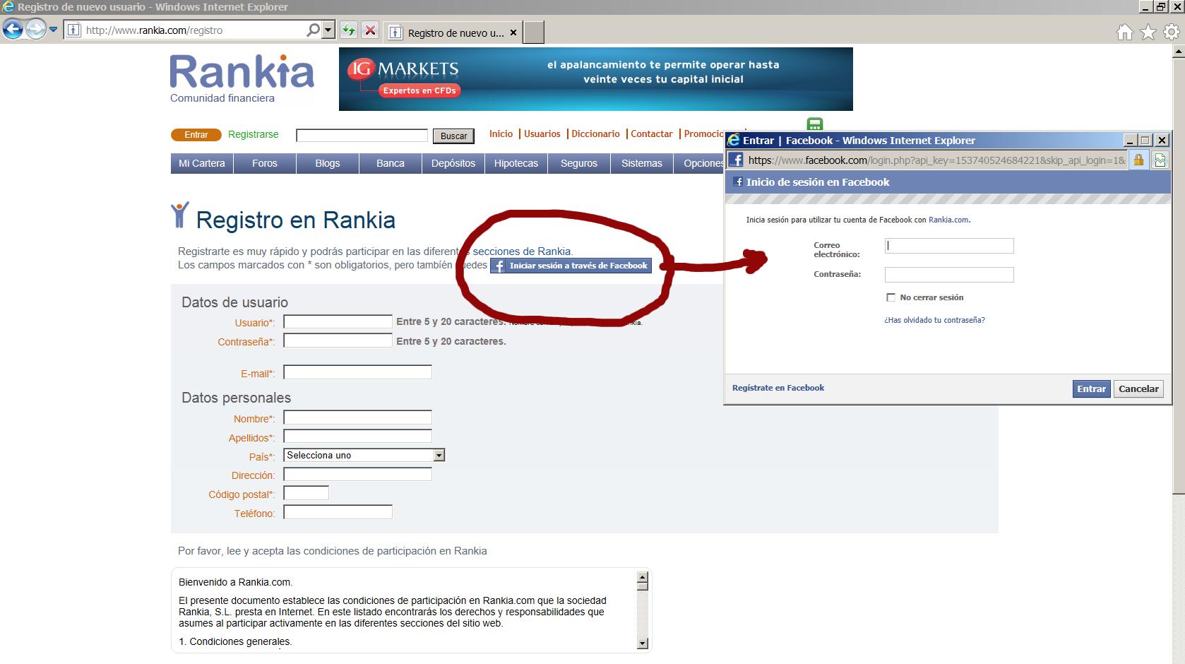 Registro de Facebook.en Rankia