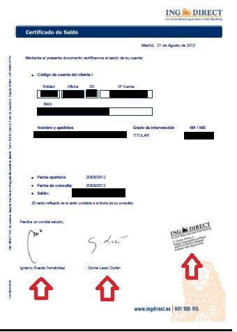 Son v lidos los certificados firmados y sellados de for Oficina ing direct madrid