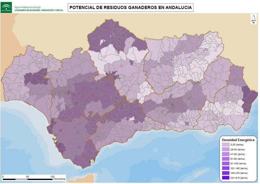 Potencial de residuos ganaderos en Andalucía. Fuente: Agencia Andaluza de la Energía