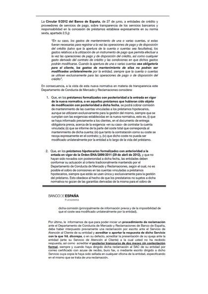 Circular 5/2012 del Banco de España, de 27 de junio