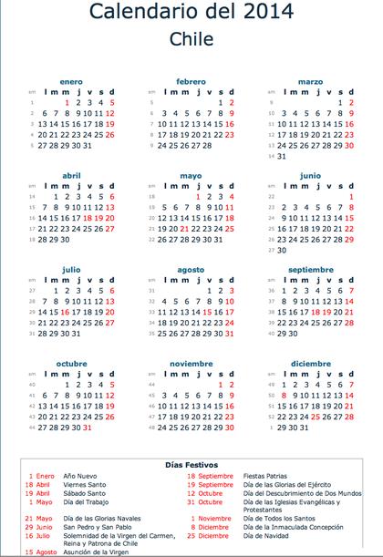 Calendario Chile 2019 Con Feriados.Calendario Dias Feriados Chile 2014 Rankia