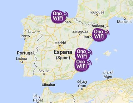 Mapa Ono WiFi