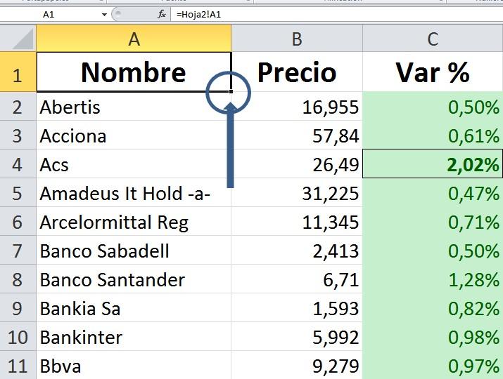 una vez tenemos copiada la matriz de datos de la hoja 2 a la hoja 1 podemos darle formato a la hoja 1