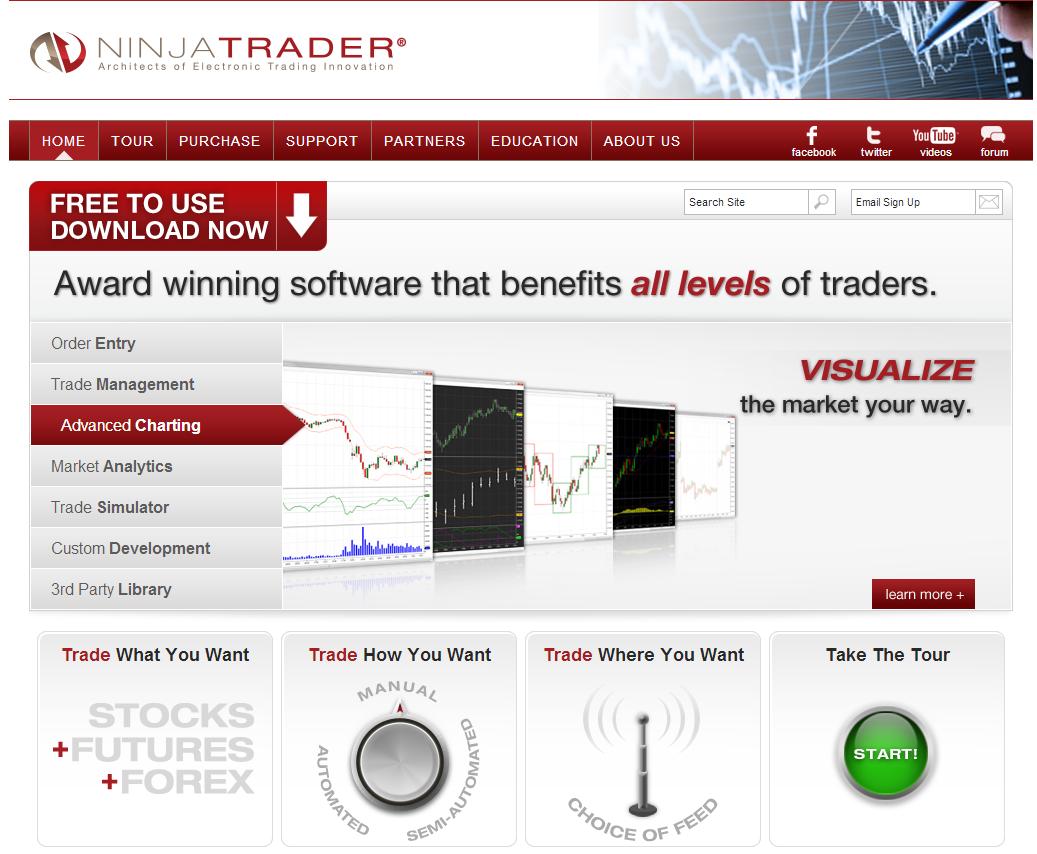 NinjaTrader web home