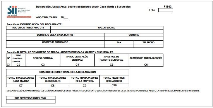 Declaración jurada sobre trabajadores según casa Matriz o sucursales