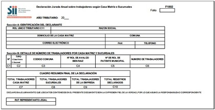 Declaracion jurada sobre trabajadores segun casa matriz o sucursales foro