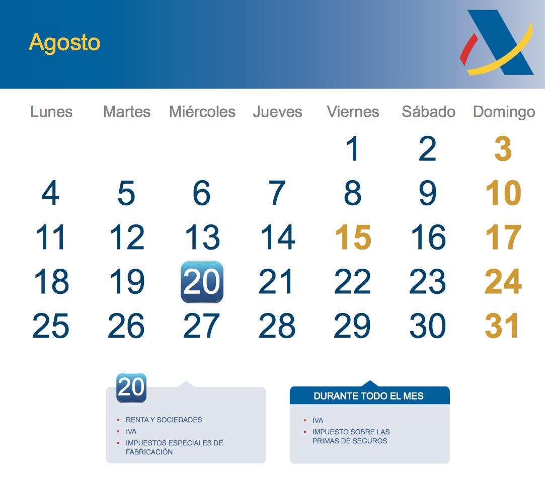 Calendario fiscal Agosto 2014 - Rankia