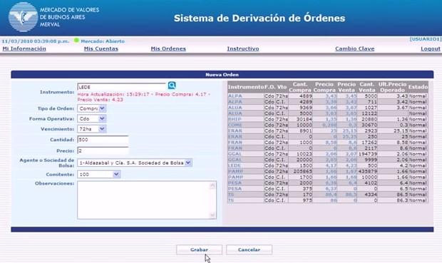 Sistema de derivación de órdenes