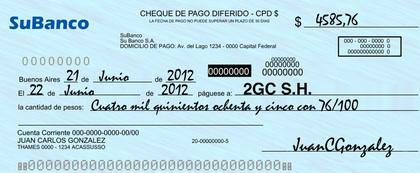 Cheque pago diferido foro