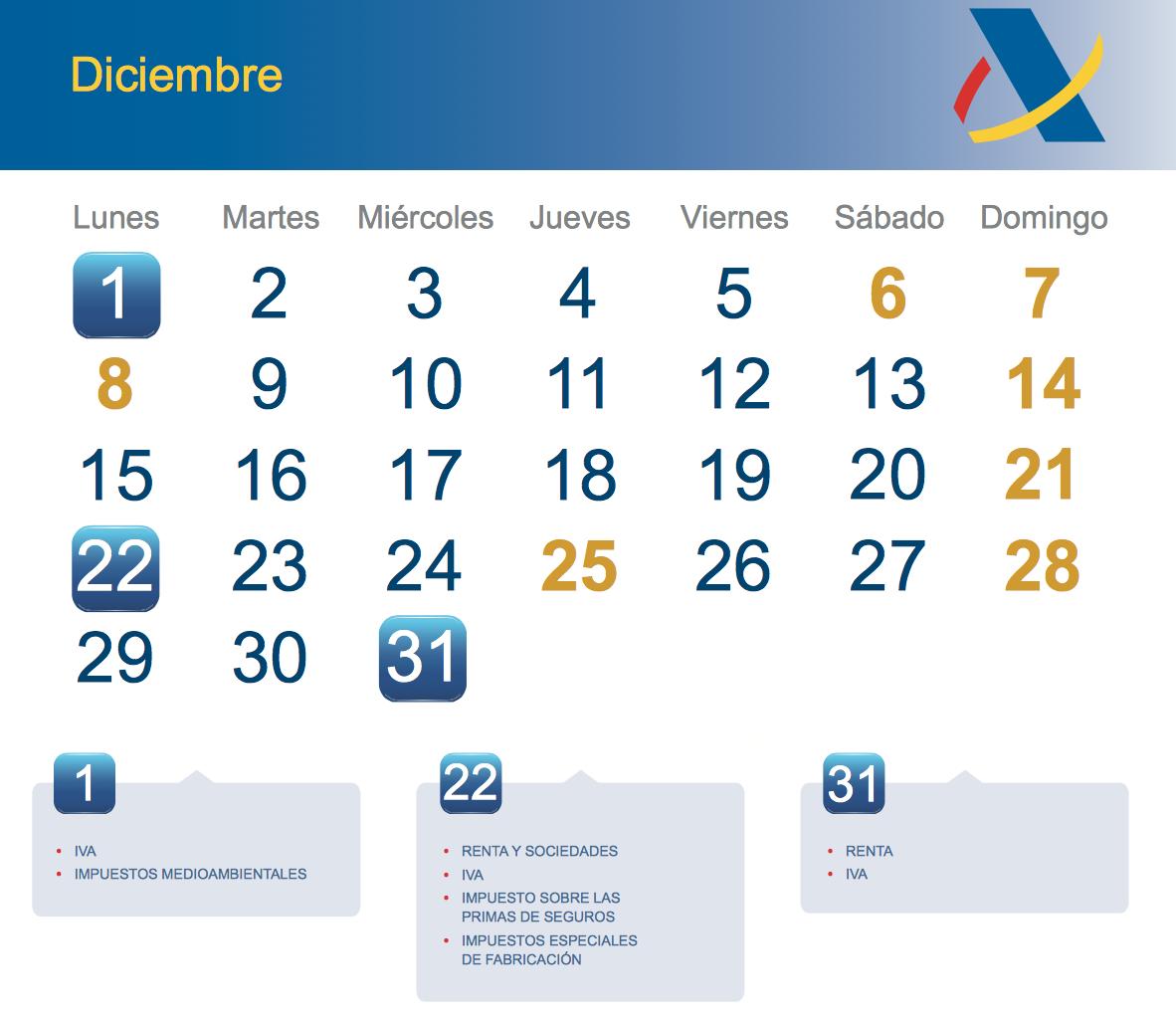 Calendario fiscal diciembre 2014