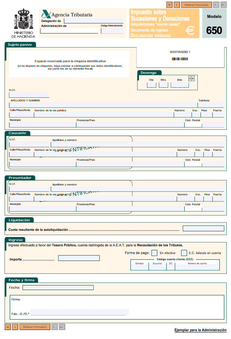 Modelos fiscales 650 y 660: Impuesto sobre Sucesiones y Donaciones ...