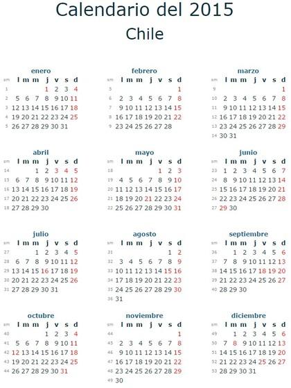 Calendario feriados chile en 2015 rankia for Calendario 2015 ministerio del interior