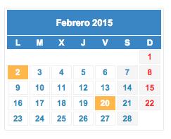 Calendario fiscal Febrero 2015