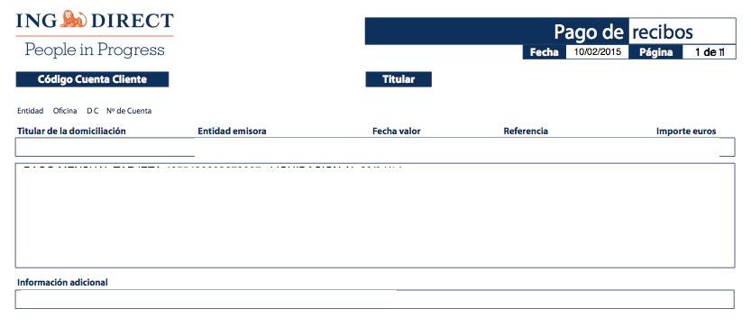 cómo se pueden imprimir los recibos en un banco online openbank
