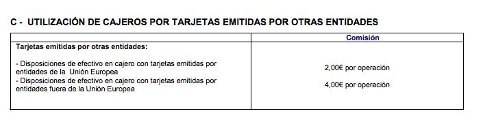 Comision 2 euros La Caixa