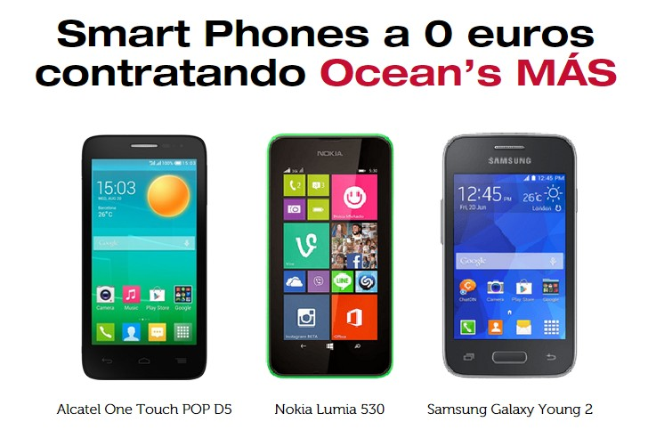 Gratis smartphones oceans tarifas internet, fijo y móvil