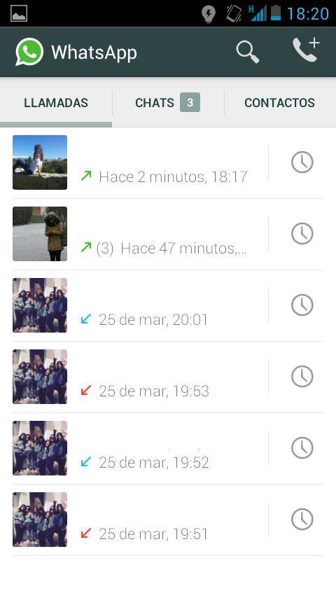 Registro llamadas Whatsapp